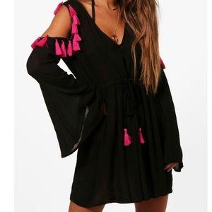 NWT ASOS tassel cold shoulder boho chic dress